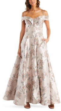 Night Way Nightway Floral-Brocade Cold-Shoulder Illusion Ball Gown