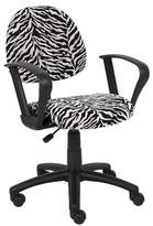 BOSS Zebra Print Microfiber Deluxe Posture Chair with Loop Arms Office Products