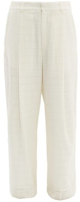 Raey Wide-leg Crosshatch Woven Trousers - Womens - Ivory
