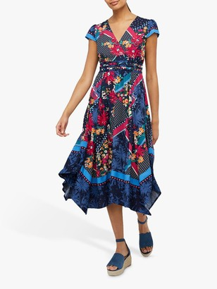 Monsoon Grace Floral Midi Dress, Navy