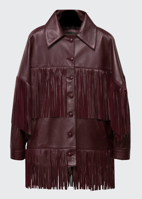 Dan Cassab Loretta Lamb Leather Fringe Jacket, Wine