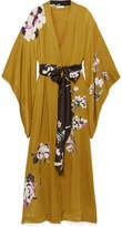 Carine Gilson Floral-print Silk-georgette Robe - Saffron