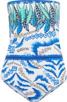 Roberto Cavalli Cutout printed bandeau swimsuit
