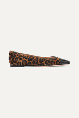 Gianvito Rossi Leopard-print Suede And Patent-leather Ballet Flats - Leopard print
