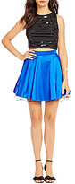 Jodi Kristopher Two-Piece Striped Sequin to Solid Skirt Dress