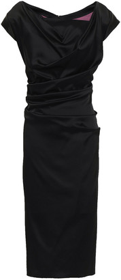 Talbot Runhof Ruched Satin Midi Dress