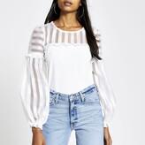 River Island Womens White organza stripe puff sleeve blouse