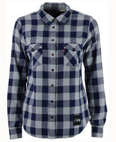 Levi's Women's Seattle Seahawks Plaid Button-Up Woven Shirt