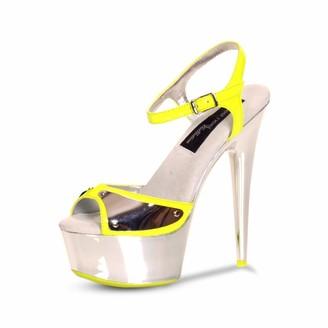 "The Highest Heel AMBER-751 Chrome Platform Sandals with 6"" Heels"