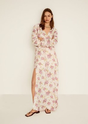 MANGO Ruched sleeve floral dress nude - 4 - Women