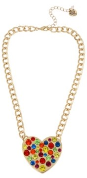 """Betsey Johnson Rainbow Stone Heart Pendant Necklace in Gold-tone Metal, 16"""" + 3"""" Extender"""