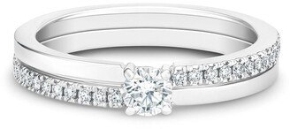 De Beers 18kt white gold The Promise small solitaire round brilliant diamond ring