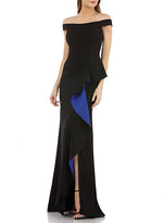 Carmen Marc Valvo Off-the-Shoulder Crepe Gown w/ Satin-Lined Cascading Ruffle