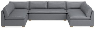 Williams-Sonoma Laguna Leather 5-Piece U-Shape Armless Loveseat Sectional