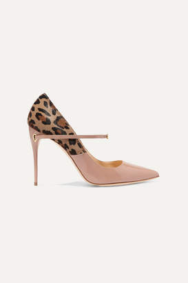 Jennifer Chamandi Lorenzo 105 Leopard-print Calf Hair And Patent-leather Pumps - Neutral