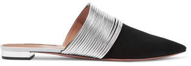 Aquazzura Rendez Vous Metallic Leather And Suede Slippers - Black
