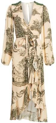 Johanna Ortiz Al Son Del Tambor Tropical Printed Wrap Dress