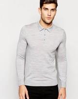 Reiss Merino Wool Long Sleeve Knitted Polo Shirt