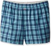 Tommy Bahama Men's Blue Plaid Woven Boxer-Big