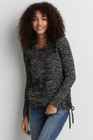 American Eagle Outfitters AE Marled Lace-Up Sweater