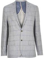 River Island MensGrey check linen-blend blazer