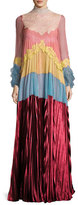 Valentino Pleated Colorblock Chiffon & Velvet Gown, Multi