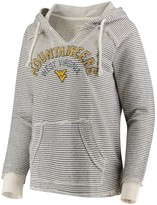 Unbranded Women's Blue 84 Cream West Virginia Mountaineers Striped French Terry V-Neck Pullover Hoodie