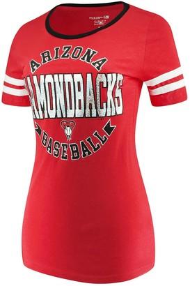 New Era Women's 5th & Ocean by Red Arizona Diamondbacks Slub Jersey Scoop Neck Sleeve Stripes T-Shirt