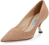 Prada Suede Comma-Heel Pointed-Toe Pump, Nudo