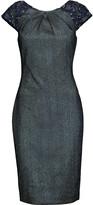 Badgley Mischka Embellished metallic jacquard dress
