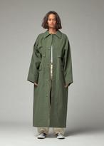 Kassl Women's Wax Trench Jacket Cape in Green Olive Size XS
