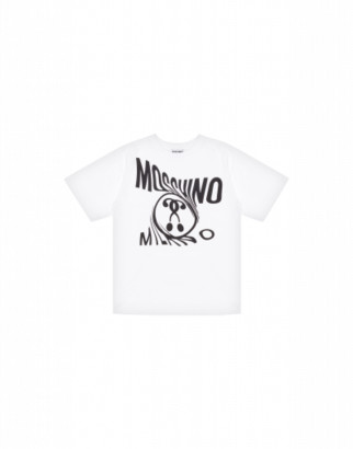 Moschino Distorted Double Question Mark Maxi T-shirt Unisex White Size 4a It - (4y Us)