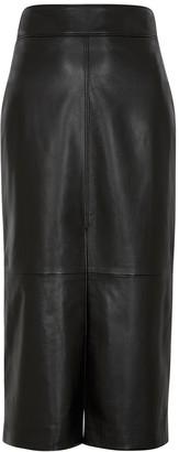 Givenchy Black leather midi skirt