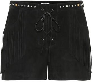 Miu Miu Fringed suede shorts