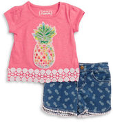 Flapdoodles Girls 2-6x Two-Piece Tee & Shorts Set