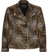 River Island Womens Brown leopard print soft biker jacket