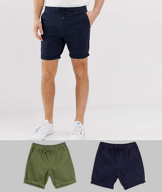 Asos Design DESIGN 2 pack skinny chino shorts with elastic waist in khaki & navy save-Multi