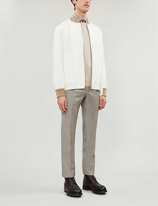 Brunello Cucinelli Two-tone linen, silk and cotton-blend bomber jacket