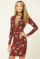 Forever 21 FOREVER 21+ Lace-Up Floral Dress