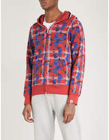 A Bathing Ape Checked Camo Shark printed cotton-jersey hoody