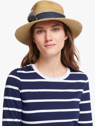 John Lewis & Partners Adjustable Braided Denim Trim Fedora Hat, Natural/Navy