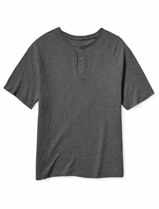 Amazon Essentials Men's Big & Tall Short-Sleeve Slub Henley T-Shirt fit by DXL
