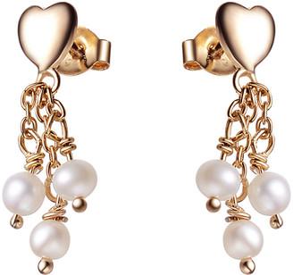 Genevive 14K Rose Gold Over Silver Pearl Earrings