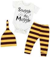 Mapletop 3pcs Newborn Baby Clothes Top Rompers Striped Pants Leggings Hat Outfits Set