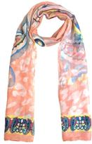Coveri Collection Sheer Peach Pattern Scarf