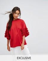 Monki Ruffle Frill Oversized T-Shirt