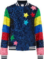 Mira Mikati Sequined Silk Bomber Jacket - Blue