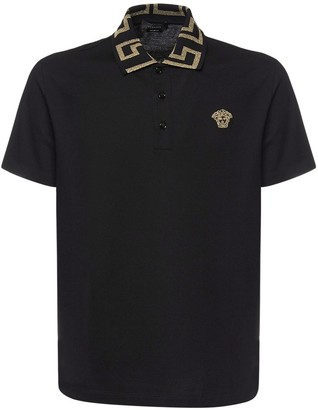Versace Taylor Fit Cotton Polo W/Greca Detail