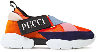 Emilio Pucci City Cross Mesh, Suede And Neoprene Slip-on Sneakers