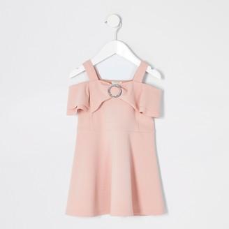 River Island Mini girls Pink bow bardot skater dress